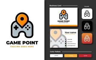 Trendy game controller template and business card vector