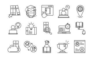 Surtido de iconos de pictogramas de línea de educación en línea