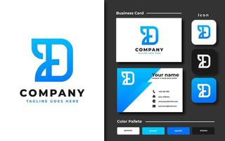 Letter D template and business card