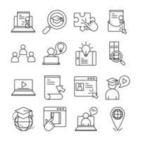 Conjunto de iconos de pictograma de línea de educación en línea