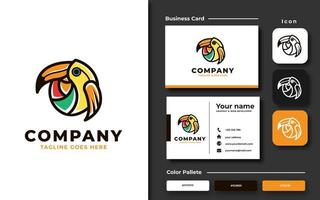 Creative colorful toucan bird template and business card vector