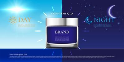 Day and night cream skin care product poster vector