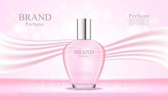 3D perfume bottle with pink silk fabric