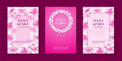 Sakura cherry blossom wedding invitations vector