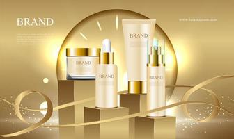 Golden podium for cosmetic ads collection with ribbon