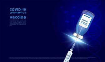 frasco de vacina de coronavírus e seringa em azul escuro
