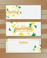 Hello summer banners with flowers on wood