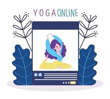 Online yoga class with female character teaching