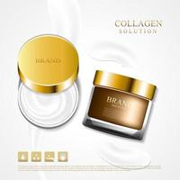 Cosmetic collagen cream jar ad vector