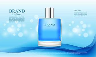 Perfume advertising on blue wave design