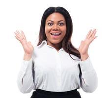 Retrato de una alegre empresaria africana foto
