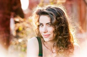 Portrait of beautiful young woman outdoor