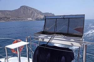 Barbecue grill on sea yacht deck