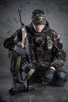 soldier sitting on the floor
