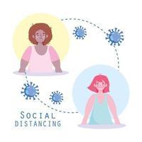 personajes distanciamiento social para prevenir la infección viral