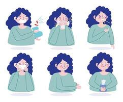 Female character preventing viral infection icon set