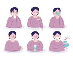 Male character preventing viral infection icon set