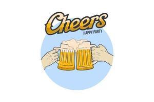 feliz fiesta cerveza aplausos mano vector