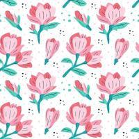 patrón de magnolia rosa vector