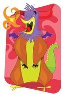 Flaming Alien Monster Rooster Cartoon