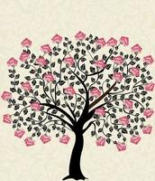 Vintage Card with Floral Tree