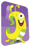 monstruo alienígena parecido a un gusano amarillo sobre púrpura