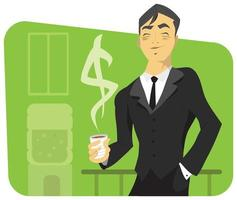 Successful Businessman with Coffee Cup and Dollar Sign