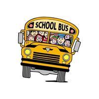 autobús escolar con niños vector
