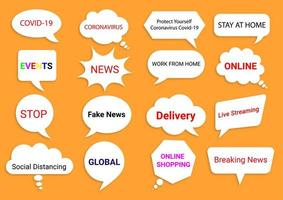 News and global events speech bubbles on orange vector