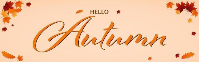 banner de hojas de otoño y hola texto de otoño vector