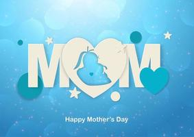 feliz día de la madre mamá y formas diseño de arte en papel