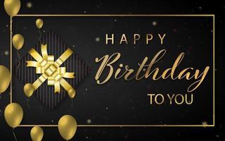 diseño de feliz cumpleaños con globos de color dorado y caja de regalo
