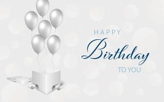 Happy birthday lettering with silver balloons and gift vector
