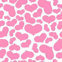 Pink hearts on white seamless pattern