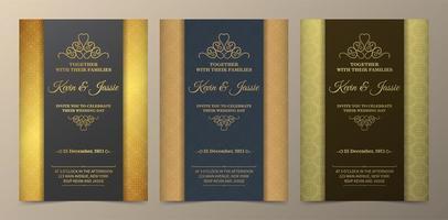 conjunto de invitación de boda de sección vertical dorada y verde