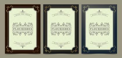 Elegant Gold Flourish Frames Set vector