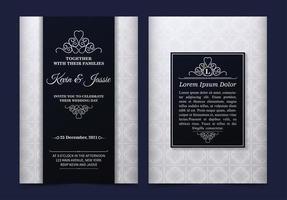 patrón blanco vintage y tarjetas de invitación de sección negra