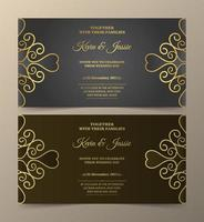 Gray and brown luxury invitation set with golden swirls vector