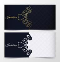 Blue, white and gold swirl pattern invite set vector
