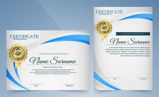 certificado de reconocimiento con líneas curvas blancas y azules