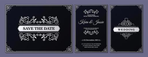 Black and white ornamental wedding card set vector