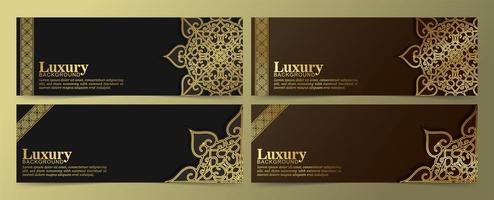 Luxury golden mandala banners on black and brown vector