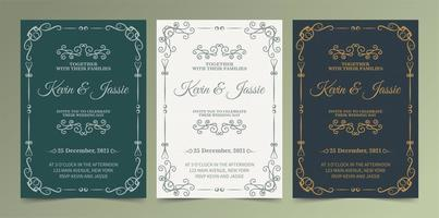 Green, white and navy ornamental wedding invite set vector