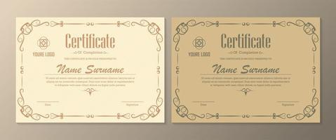 Certificate set in pale yellow and gold colors vector