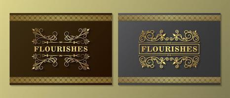 Vintage ornament shadowed flourish card set vector
