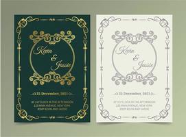 juego de tarjetas vintage de lujo verde y blanco