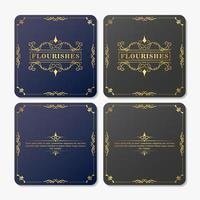 Blue and gray vintage flourishes greeting card set vector