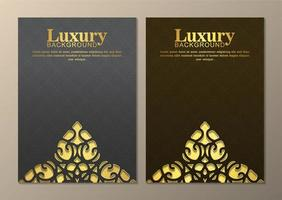 Gray and brown golden ornamental element covers vector