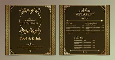 conjunto de menu quadrado ornamental de restaurante