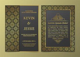 conjunto de invitación de marco dorado con motivos de lujo